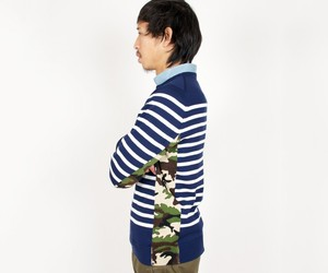 SOPHNET SIDE PANEL CAMO BORDER CREW NECK KNIT NAVY