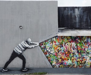 Behind the Curtain - Mural by Martin Whatson