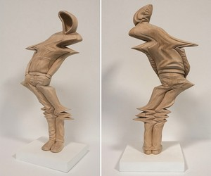 Wooden Sculptures with Glitch Effects
