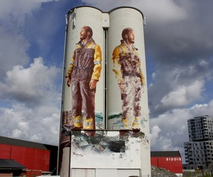 Mural on Giant Double Silos by Fintan Magee