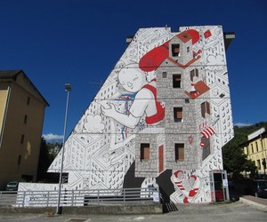 """Backpack Home"" by Street Artist Millo in Italy"