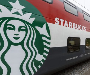 First Starbucks store on a train