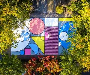 Colorful Basketball Court by Katrien Vanderlinden