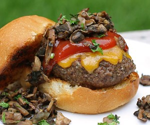 Mushroom & Cheddar Sliders with Chipotle Ketchup