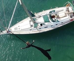 Aerial dance over Santorini island in Greece