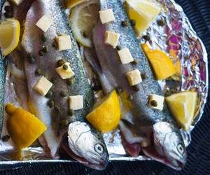 Lemon Skillet-Seared Rainbow Trout, on your grill
