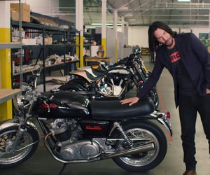 Keanu Reeves shows some of his bikes