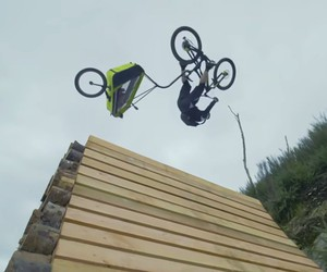 Danny MacAskill have fun with a child trailer