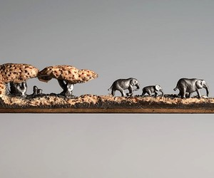 Elephant Art Carved From a Pencil Lead