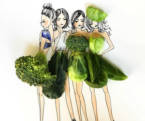 Fashion Illustrations Created of Flowers & Veggies