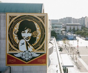 New Mural by Street Artist Shepard Fairey in Seoul