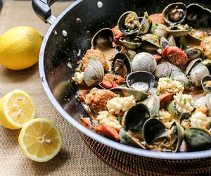 Spanish Meatballs with Clams, Chorizo & Squid