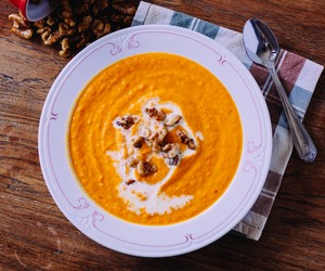 Carrot & Sweet Potato Soup with Candied Walnuts