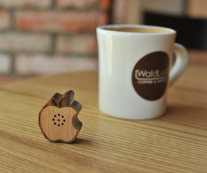 Tiny wooden Apple shaped speaker
