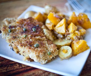 Panko Crusted Wiener Schnitzel with a Lemon Sauce