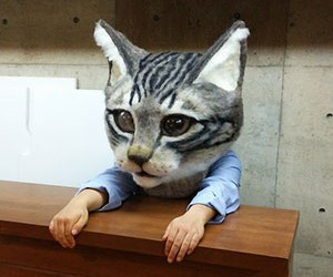 Japanese students create giant cat's head made fro