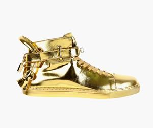 Buscemi 100mm High Top Gold Sneaker