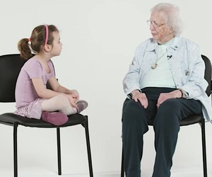 Children interview a 101-year-old lady