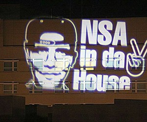 """NSA in da House"" Light Projection onto US Embassy"