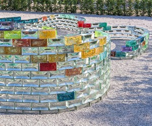 The Gualala River of hand-made glass blocks