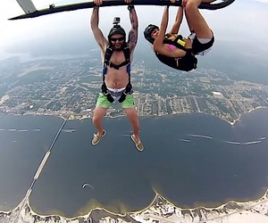 Skydive from a helicopter, taken with three GoPros