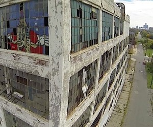 A city rots - drones flying over Detroit