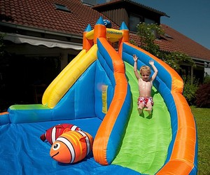 Water park with slide in the garden
