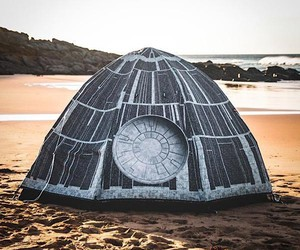 A tent in the look of the Death Star
