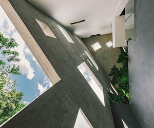 Concrete colossus with playful details